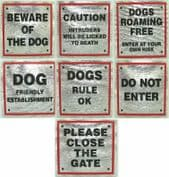 PET STICK ON SIGNS 8cm X 8cm with RED Boarder